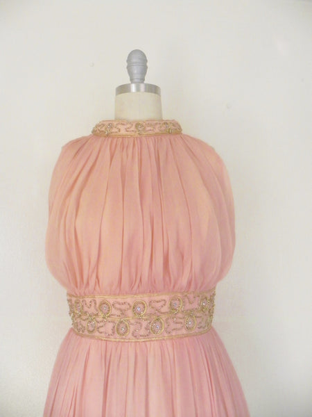 Vintage 1960s Peach Silk Chiffon Party Dress - Vintage World Rocks - 3