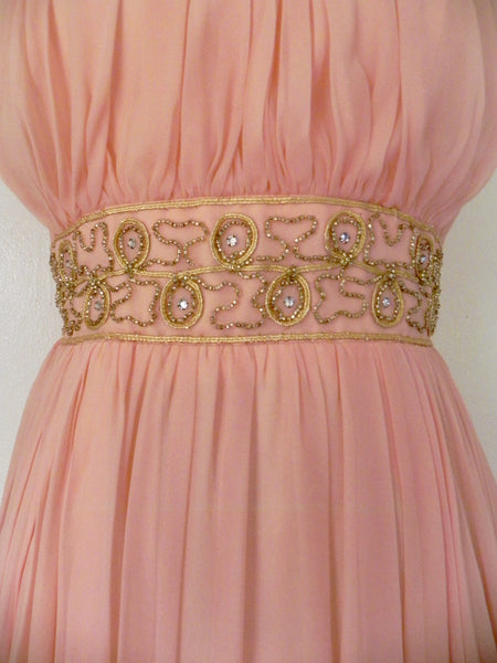 Vintage 1960s Peach Silk Chiffon Party Dress - Vintage World Rocks - 4