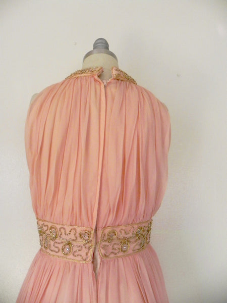 Vintage 1960s Peach Silk Chiffon Party Dress - Vintage World Rocks - 7