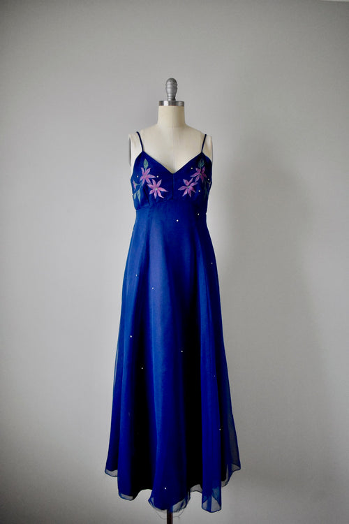 Vintage 1970s Kay Kipps Navy Blue Empire Dress with Rhinestones