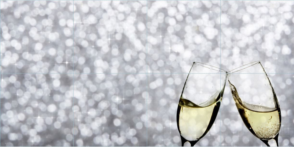 Decorative Ceramic Tile - 8T_Cham_0002 Champagne Wine - 8 Tile Collage - Wicked Good Decor