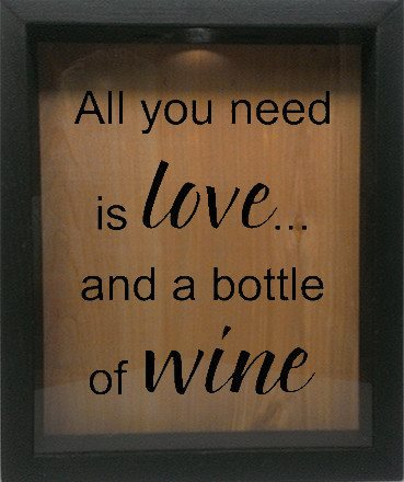 "Wooden Shadow Box Wine Cork/Bottle Cap Holder 9""x11"" - All You Need is Love and a Bottle of Wine - Ebony Frame w/Black Lettering - Wicked Good Candle and Decor - 1"