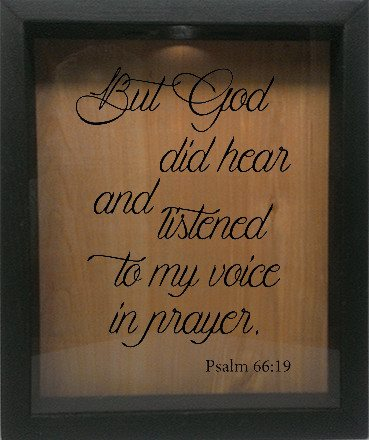 "Wooden Shadow Box Wine Cork/Bottle Cap Holder 9""x11"" - But God did hear and listened - Ebony Frame w/Black Lettering - Wicked Good Candle and Decor - 1"