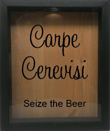 "Wooden Shadow Box Wine Cork/Bottle Cap Holder 9""x11"" - Carpe Cerevisi Seize The Beer - Ebony Frame w/Black Lettering - Wicked Good Candle and Decor - 1"