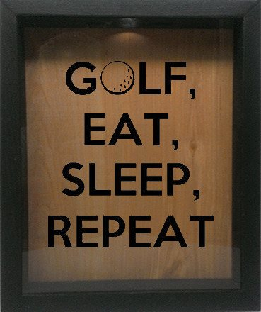 "Wooden Shadow Box Wine Cork/Bottle Cap Holder 9""x11"" - Golf, Eat, Sleep, Repeat - Ebony Frame w/Black Lettering - Wicked Good Candle and Decor - 1"