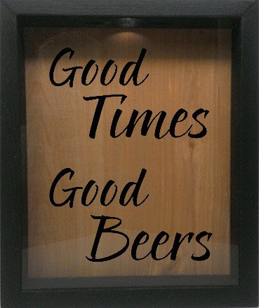 "Wooden Shadow Box Wine Cork/Bottle Cap Holder 9""x11"" - Good Times, Good Beers - Ebony Frame w/Black Lettering - Wicked Good Candle and Decor - 1"