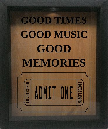 "Wooden Shadow Box Wine Cork/Bottle Cap Holder 9""x11"" - Good Times Good Music Good Memories - Ebony Frame w/Black Lettering - Wicked Good Candle and Decor - 1"