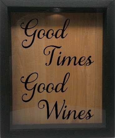 "Wooden Shadow Box Wine Cork/Bottle Cap Holder 9""x11"" - Good Times, Good Wine - Ebony Frame w/Black Lettering - Wicked Good Candle and Decor - 1"