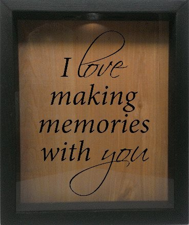 "Wooden Shadow Box Wine Cork/Bottle Cap Holder 9""x11"" - I Love Making Memories With You - Ebony Frame w/Black Lettering - Wicked Good Candle and Decor - 1"