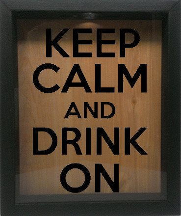 "Wooden Shadow Box Wine Cork/Bottle Cap Holder 9""x11"" - Keep Calm and Drink On - Ebony Frame w/Black Lettering - Wicked Good Candle and Decor - 1"
