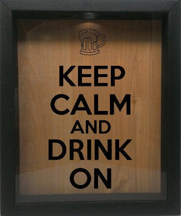 "Wooden Shadow Box Wine Cork/Bottle Cap Holder 9""x11"" - Keep Calm and Drink On with Mug - Ebony Frame w/Black Lettering - Wicked Good Candle and Decor - 1"
