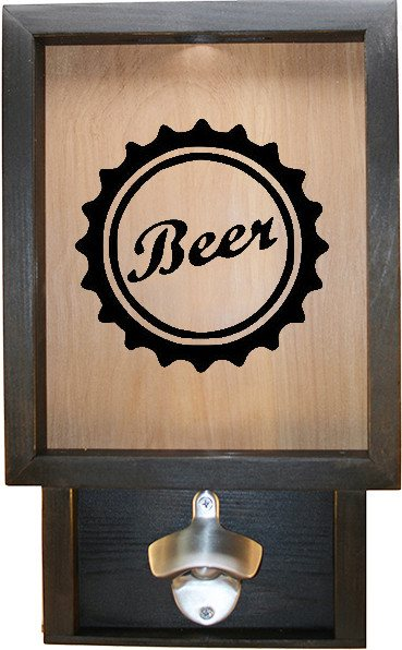 "Wooden Shadow Box Bottle Cap Holder with Bottle Opener 9""x15"" - Beer Cap - Ebony Frame w/Black Lettering - Wicked Good Candle and Decor - 1"