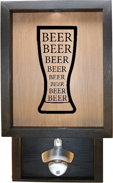 "Wooden Shadow Box Bottle Cap Holder with Bottle Opener 9""x15"" - Beer in Glass - Ebony Frame w/Black Lettering - Wicked Good Candle and Decor - 1"
