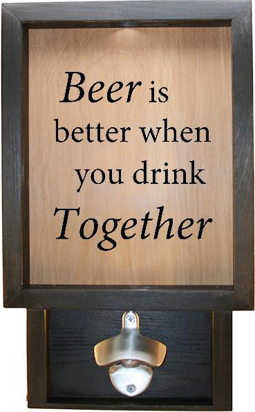 "Wooden Shadow Box Bottle Cap Holder with Bottle Opener 9""x15"" - Beer Is Better When You Drink Together - Ebony Frame w/Black Lettering - Wicked Good Candle and Decor - 1"