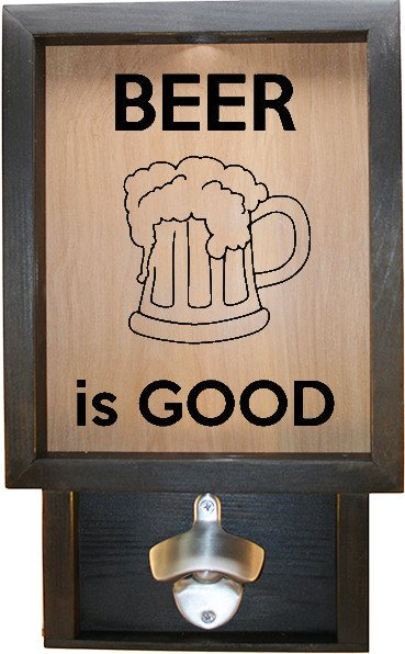 "Wooden Shadow Box Bottle Cap Holder with Bottle Opener 9""x15"" - Beer is Good with Mug - Ebony Frame w/Black Lettering - Wicked Good Candle and Decor - 1"