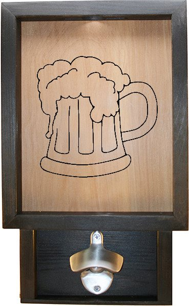 "Wooden Shadow Box Bottle Cap Holder with Bottle Opener 9""x15"" - Beer Mug - Ebony Frame w/Black Lettering - Wicked Good Candle and Decor - 1"