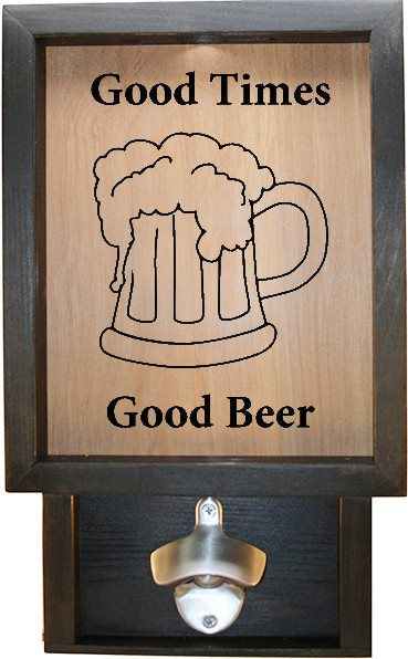 "Wooden Shadow Box Bottle Cap Holder with Bottle Opener 9""x15"" - Good Times Good Beer 2 - Ebony Frame w/Black Lettering - Wicked Good Candle and Decor - 1"