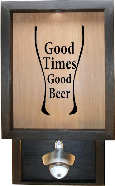 "Wooden Shadow Box Bottle Cap Holder with Bottle Opener 9""x15"" - Good Times Good Beer in Glass - Ebony Frame w/Black Lettering - Wicked Good Candle and Decor - 1"
