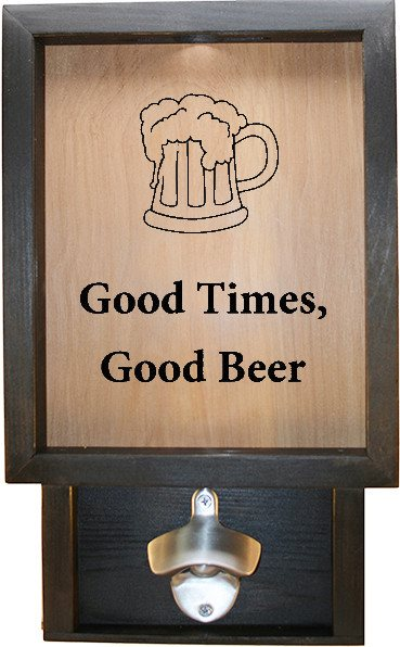 "Wooden Shadow Box Bottle Cap Holder with Bottle Opener 9""x15"" - Good Times w/mug - Ebony Frame w/Black Lettering - Wicked Good Candle and Decor - 1"