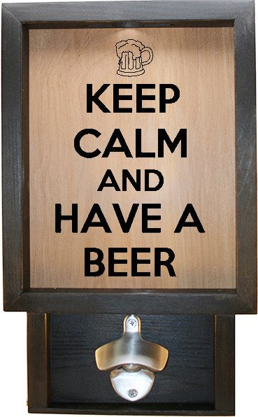 "Wooden Shadow Box Bottle Cap Holder with Bottle Opener 9""x15"" - Keep Calm and Have a Beer w/Mug - Ebony Frame w/Black Lettering - Wicked Good Candle and Decor - 1"