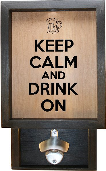 "Wooden Shadow Box Bottle Cap Holder with Bottle Opener 9""x15"" - Keep Calm and Drink On w/Mug - Ebony Frame w/Black Lettering - Wicked Good Candle and Decor - 1"
