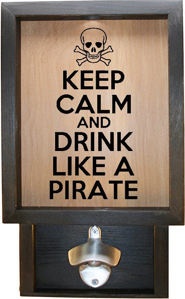 "Wooden Shadow Box Bottle Cap Holder with Bottle Opener 9""x15"" - Keep Calm Pirate - Ebony Frame w/Black Lettering - Wicked Good Candle and Decor - 1"