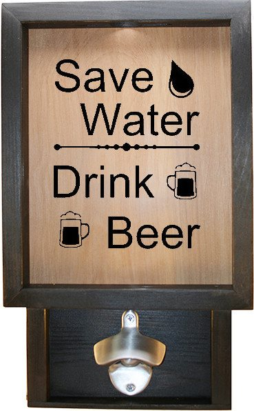 "Wooden Shadow Box Bottle Cap Holder with Bottle Opener 9""x15"" - Save Water Drink Beer - Ebony Frame w/Black Lettering - Wicked Good Candle and Decor - 1"