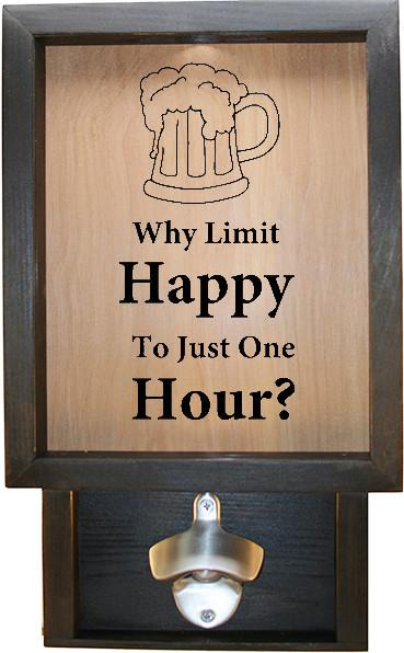 "Wooden Shadow Box Bottle Cap Holder with Bottle Opener 9""x15"" - Why Limit Happy To Just One Hour - Ebony Frame w/Black Lettering - Wicked Good Candle and Decor - 1"