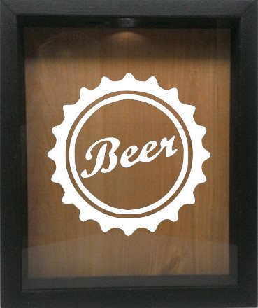"Wooden Shadow Box Wine Cork/Bottle Cap Holder 9""x11"" - Beer Cap - Ebony Frame w/White Lettering - Wicked Good Candle and Decor - 1"