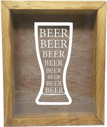"Wooden Shadow Box Wine Cork/Bottle Cap Holder 9""x11"" - Beer Beer Beer in Glass - Summer Oak Frame w/White Lettering - Wicked Good Candle and Decor - 1"
