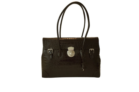 Moon Lock Satchel/Chocolate Croc