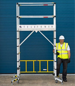 YOUNGMAN Teletower Telescopic Aluminium Ladder with Portable light weight Scaffolding system with Lockable Wheels, 5 Adjustable Platform with Trap Door Most Light (4 m)