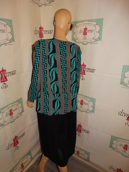 Vintage Stuart Barry Green/Black/White Sheer Dress Size 2x
