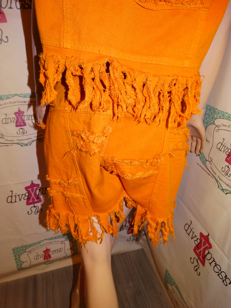 Vintage Navi Mustard Yellow 2 Piece Jean Short Set Size L