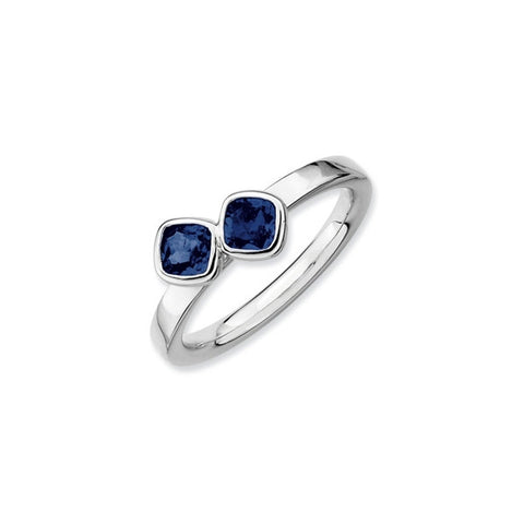 Mothers Stackable Birthstone Ring - Double Cushion Cut
