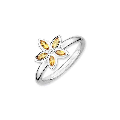 Mothers Stackable Birthstone Ring - 5 Petal Flower