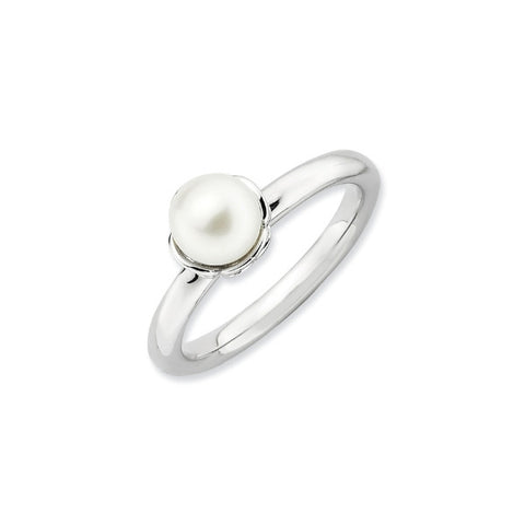 Mothers Stackable Birthdstone Ring- Pearl