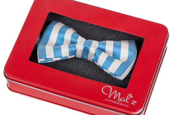 Blue Textured Stripe Bow Tie