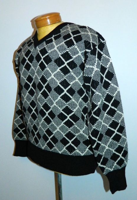 vintage argyle sweater 1980s Giorgio Armani black jumper Mens S