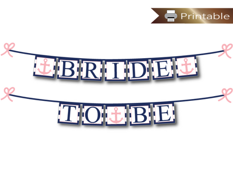 nautical bride to be banner in navy and pink - anchor bridal shower decoration - Celebrating Together