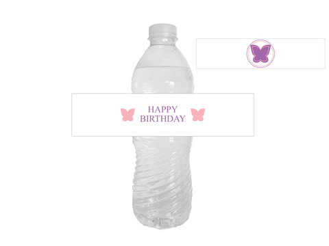 Printable Butterfly Happy Birthday Water Bottle Labels - Celebrating Together