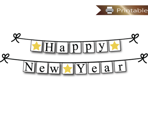 printable happy new year banner - new years party decoration - Celebrating Together
