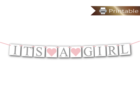 printable it's a girl banner in pink and gray - Celebrating Together