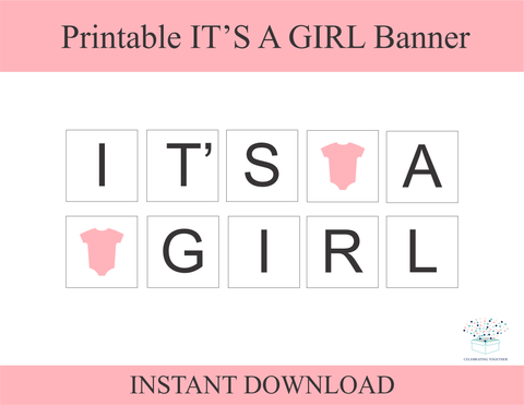 Printable Onesie It's A Girl Banner - DIY Baby Shower Decoration