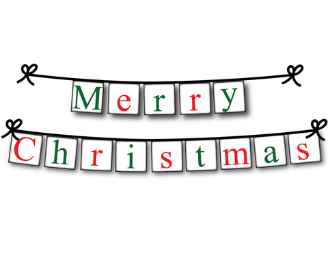 Festive Merry Christmas banner - Printable Christmas Decorations - Celebrating Together
