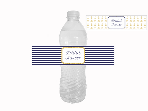 Printable Nautical Bridal Shower Water Bottle Labels