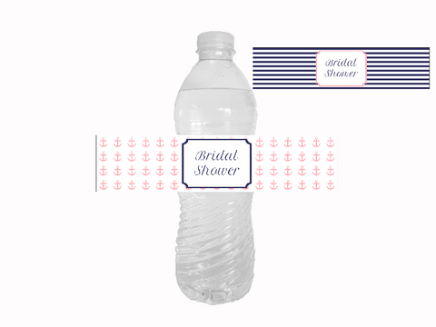 Nautical Bridal Shower Water Bottle Labels Printables