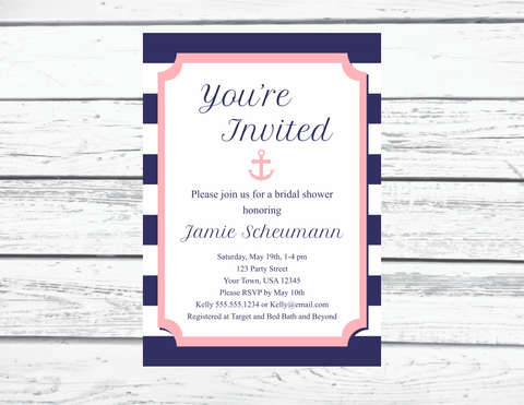 Navy and Pink Nautical Bridal Shower Invitation Printable, Editable Invitation