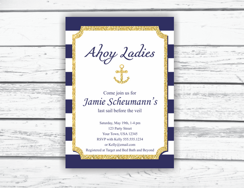 Navy and Gold Nautical Bridal Shower Invitation Printable, Editable Invitation