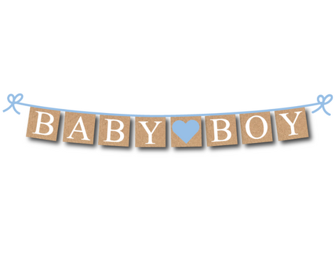 Rustic Baby Boy Banner Printable - DIY Baby Shower Decoration